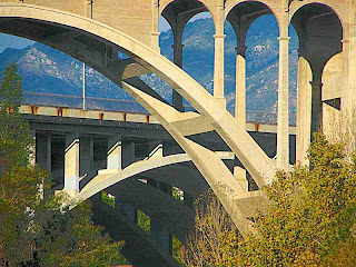 arches of Colorado Street Bridge and 134 Freeway brdige Pasadena CA