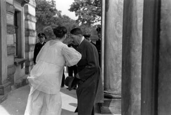 Adolf Hitler kisses the hand of Winifred Wagner at Bayreuth