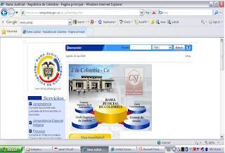 SE INGRESA A LA PAGINA DE LA RAMA JUDICIAL http://www.ramajudicial