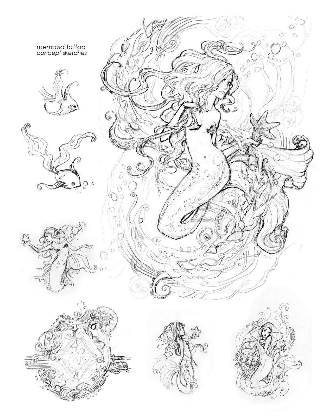 Mermaid Tattoo Line Drawing : Girls drawing mermaid tattoo