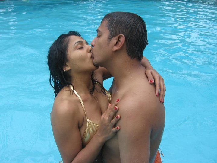 Sri Lankan couple in swimming pool
