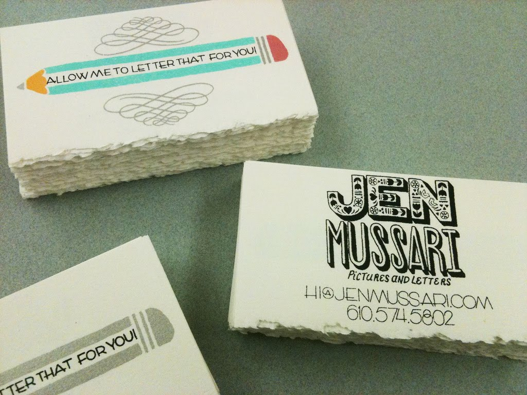 jen must: Screen Printed Business Cards