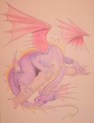 purple dragon drawing
