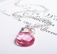 wire wrapped pink swarovski and pearl necklace