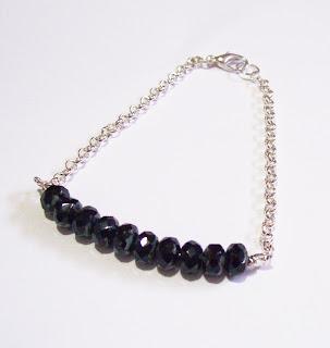 image of beaded bar bracelet black silver jewellery jewelry Two Cheeky Monkeys firepolish