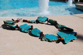 image skipping stones necklace large genuine turquoise by taymaree on etsy