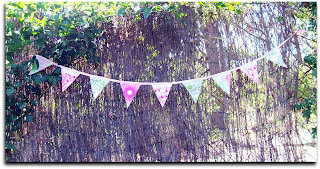 fabric bunting pink green vintage lace bias binding flower