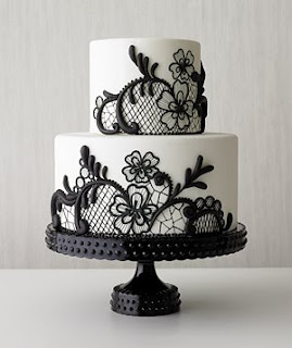 black and white lace wedding cake