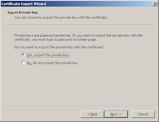 Choose to export the private key...