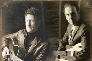 Contrary to what you might think if you study this picture, the gentlemen in it actually like each other and John Hiatt is not left-handed