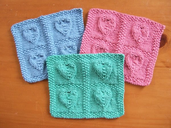 4 Embossed Hearts Cloth ~ smariek knits