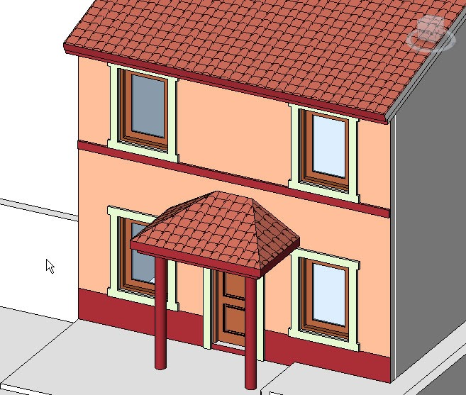 Curso revit architecture retoque de fachadas en revit for Casa moderna revit