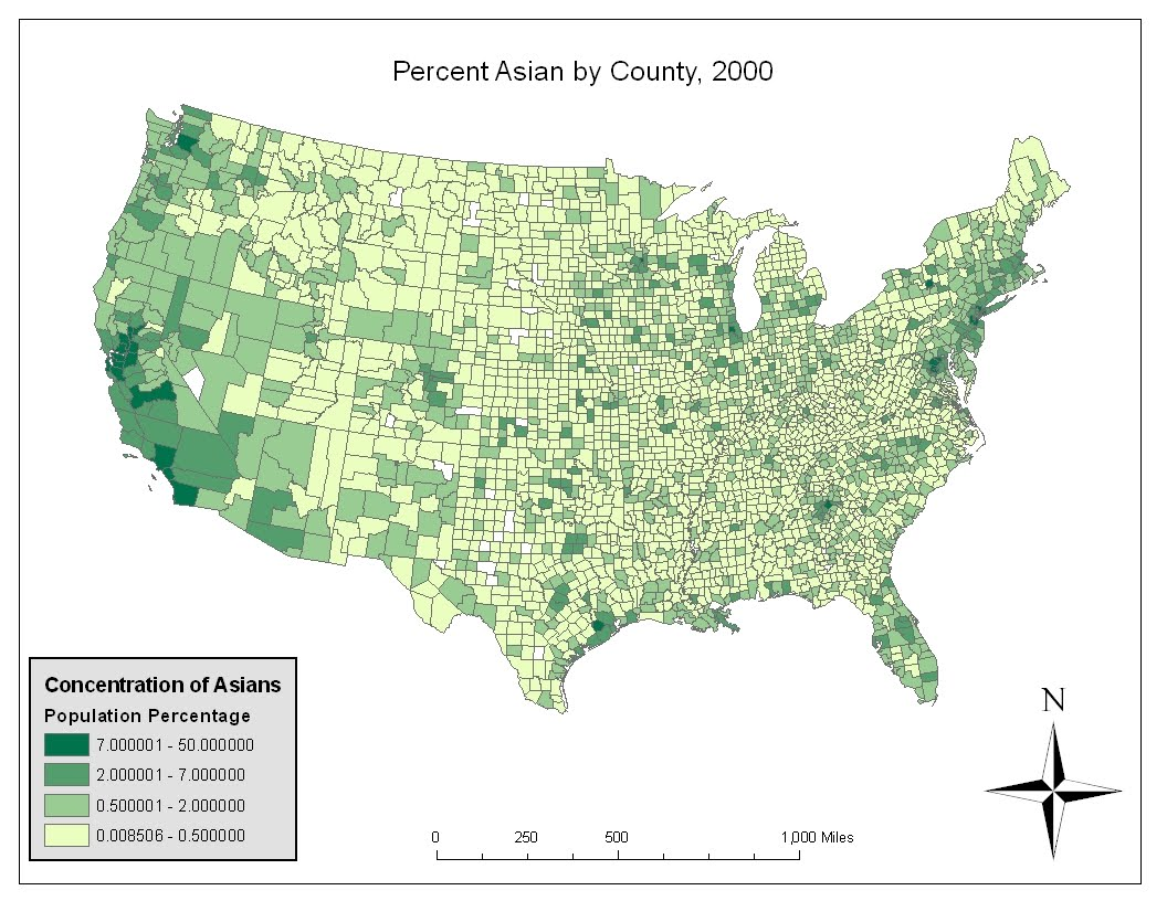 judging from the map american asians are predominantly focused in the more urban regions of the u s