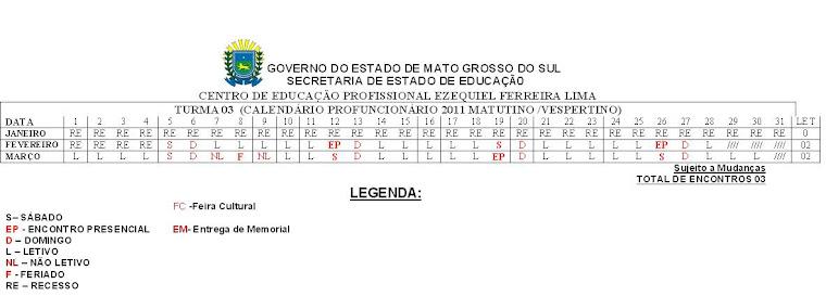 Calendário Turma 3 - 2011