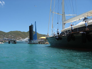 Charter Yacht Perseus passing through Simpson Bay Bridge, St Maarten - (Photo ©2009 - Paradise Connections)