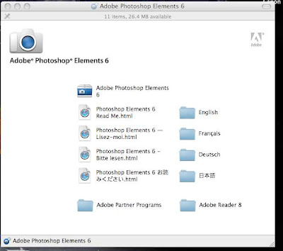 Screenshot after inserting CD to install Photoshop Elements 6 MAC