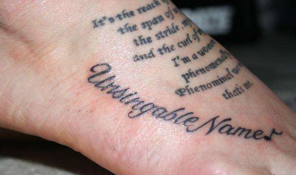 tattoos of quotes and sayings. foot tattoos quotes