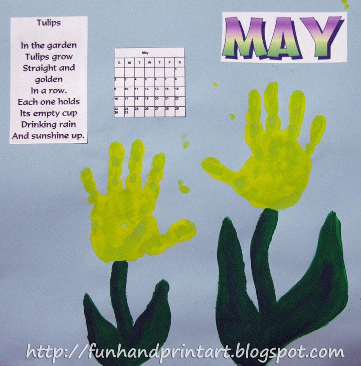 Calendar Handprint Art : Handprint tulips for may calendar fun