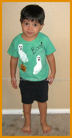 Handmade Halloween Shirt - footprint ghosts, handprint pumpkin