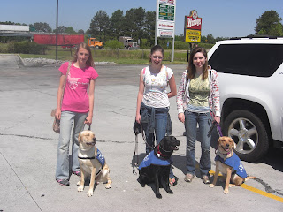 Picture of Toby & I with Duchess & Cassie (and their handlers)