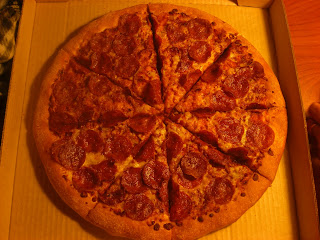 Close up of the pepperoni pizza we got.  This was MY last supper with Toby