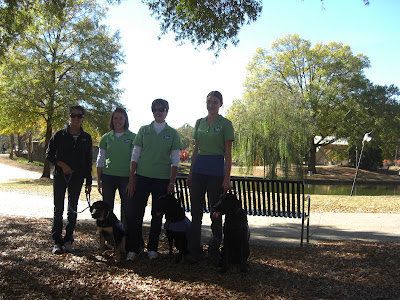 Picture of some of our group. Our dogs are in a sit-stay beside us