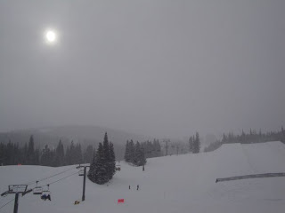 snow skiing trail in snow storm at Copper Mountain, Colorado