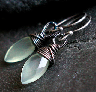 Willow Earrings - handmade earrings with pale green faceted Prehnite gemstones captured by hand coiled and oxidized sterling silver
