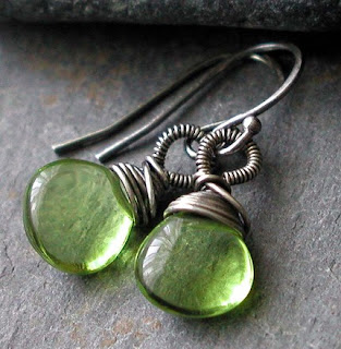 Hand crafted earrings featuring lime green Hydro Quartz briolettes wire wrapped with oxidized sterling silver