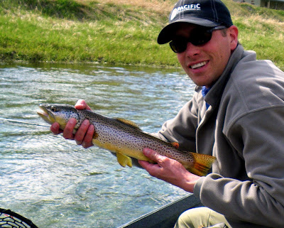Marshall with a brown trout on the Missouri River, MT