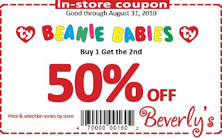 Beverly's Fabric and Crafts In-Store Coupon: Beanie Babies Buy one get one 50% off. Price & selection vary by store. Good thru August 31, 2010.