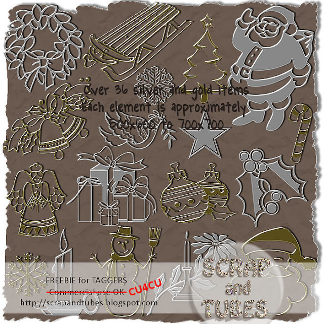 Silver and Gold Xmas Things (CU4CU) Silver+and+Gold+Xmas+Things_Preview_Scrap+and+Tubes