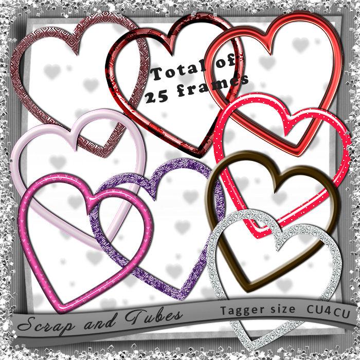 25 Heart Frames (CU4CU) .25+Heart+Frames_Preview_Scrap+and+Tubes