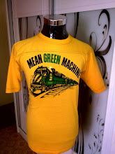 VINTAGE MEAN GREEN MACHINE SKULL TRAIN FACES 50/50 KAIN SAMBUNG SHIRT  (SOLD!!!)