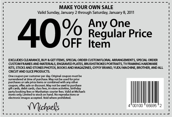 Michaels Coupons for week of January 1, 2011. Michaels: Have fun shopping!