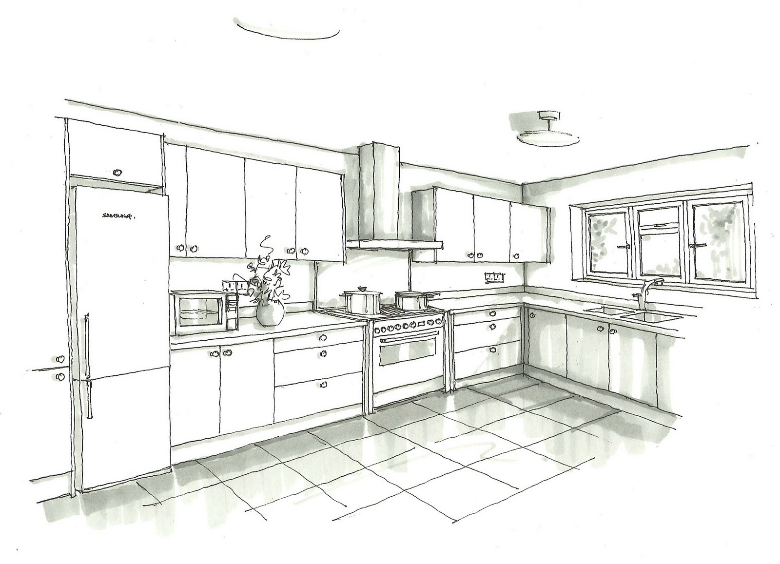 Kitchen Interior Design Sketches
