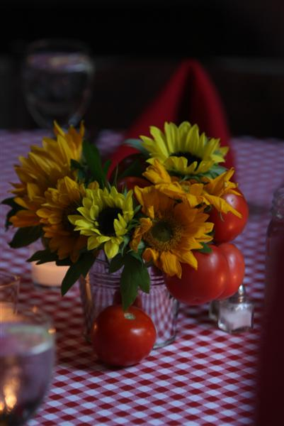 Rehearsal Dinner Centerpiece Sunflowers and Heirloom Tomatoes