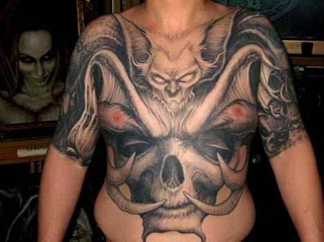 evil bat body tattoo