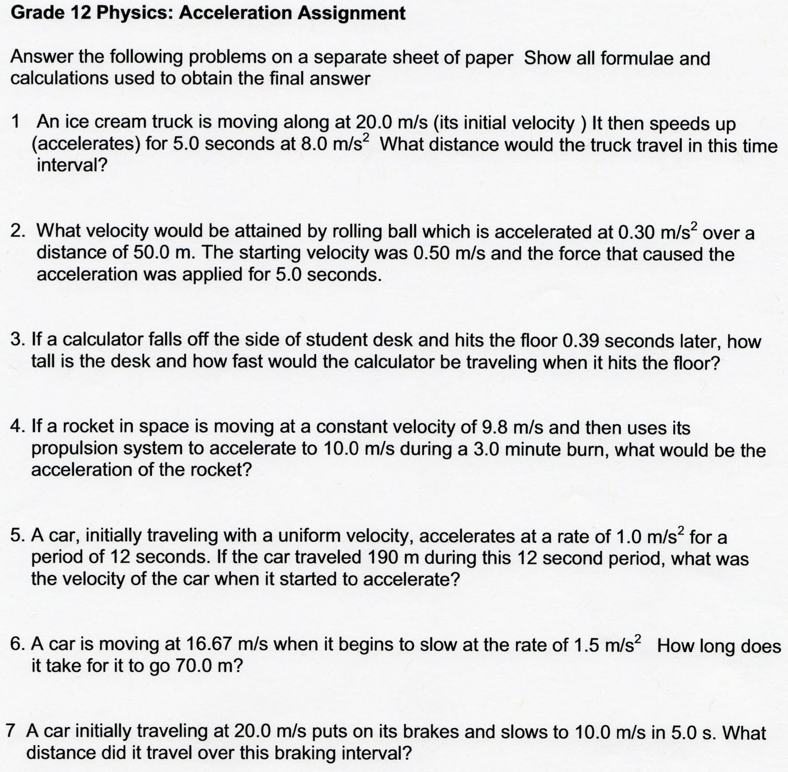 physicsfall monday  12 physics acceleration assignment