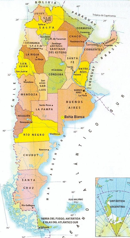 Argentina Mapa Capitales - Argentina mapa