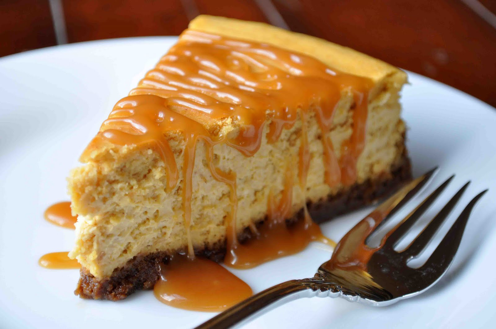 Pumpkin Cheesecake with Caramel Sauce - Cooking With Michele®