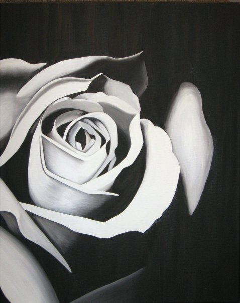 Black and White Rose - SOLD