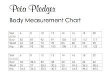 Peta Pledger Size Chart