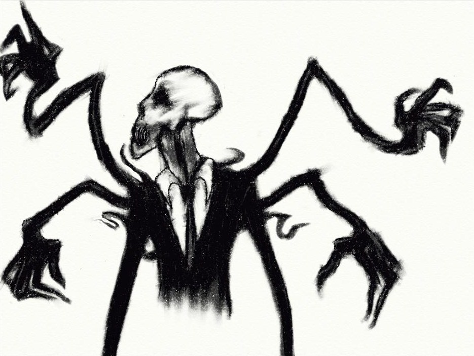Scary Slenderman Drawing Slenderman Creepy Sculpture