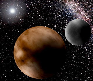 Pluto and its moon, Charon: An artist's impression.