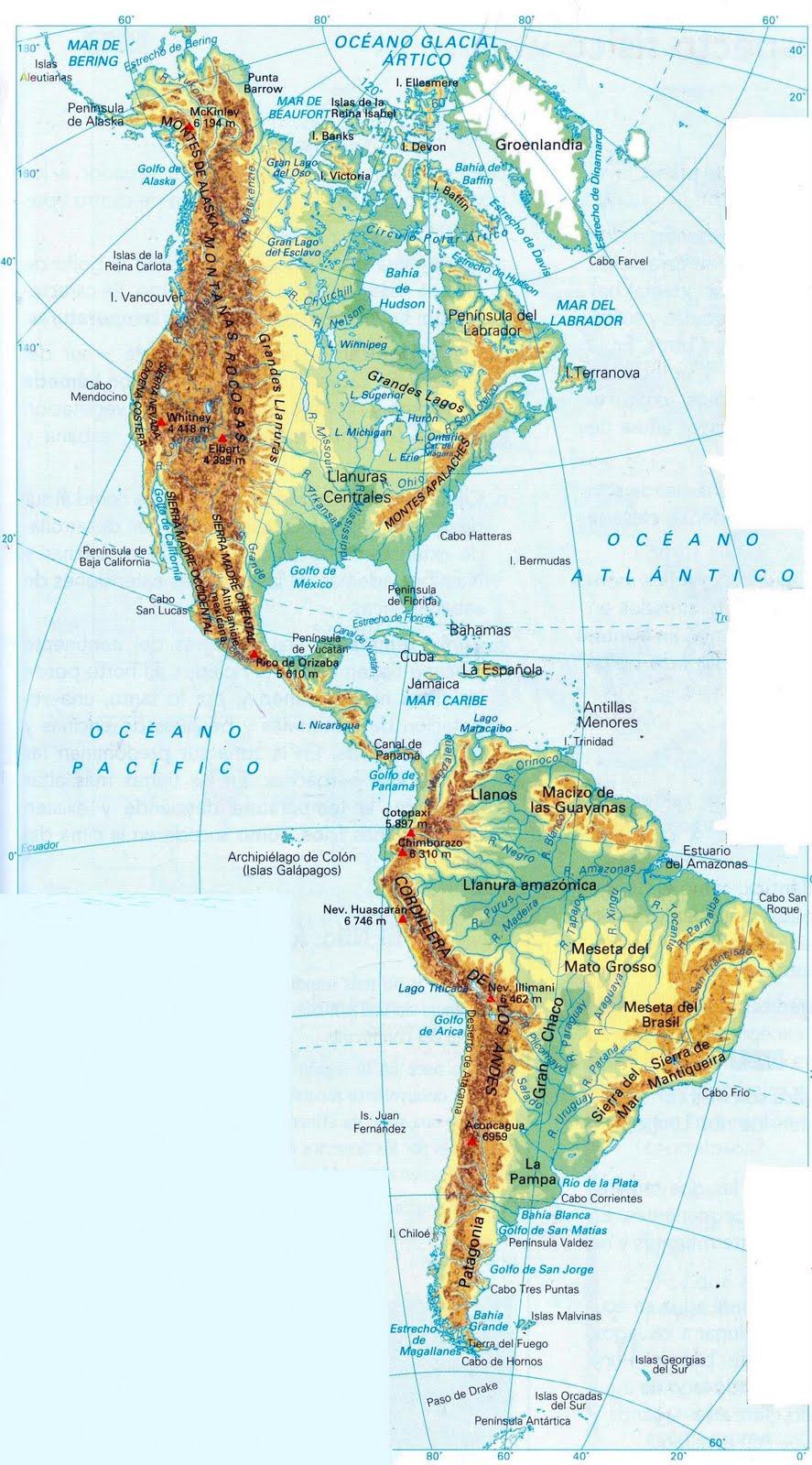 Mapa Fisico Del Continente De America