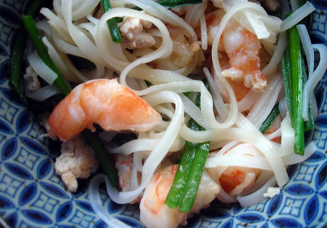... by Rachel Rappaport: Chinese Chives with Shrimp, Pork & Rice Noodles