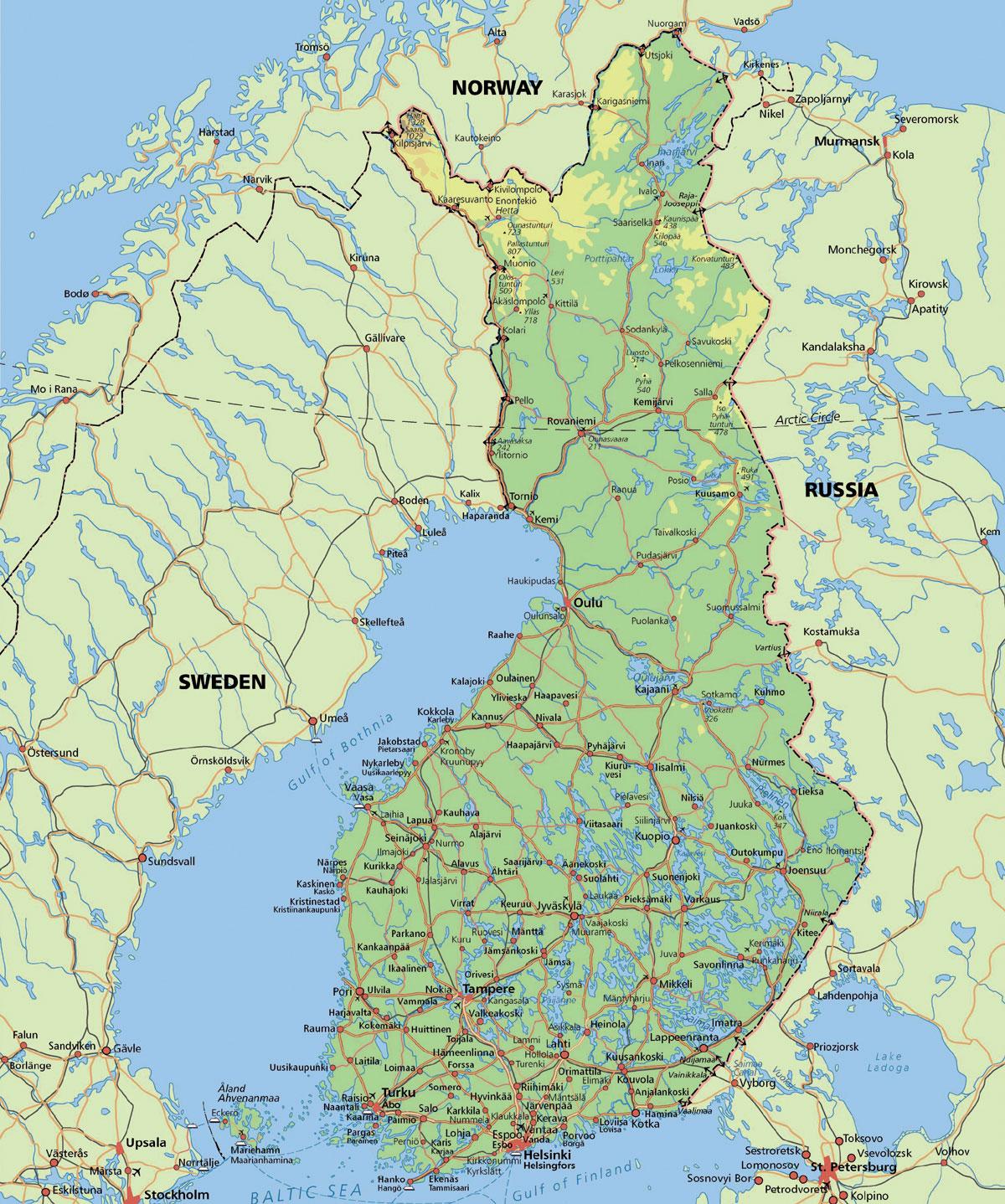 Arctic Circle Finland Map - Map of arctic circle