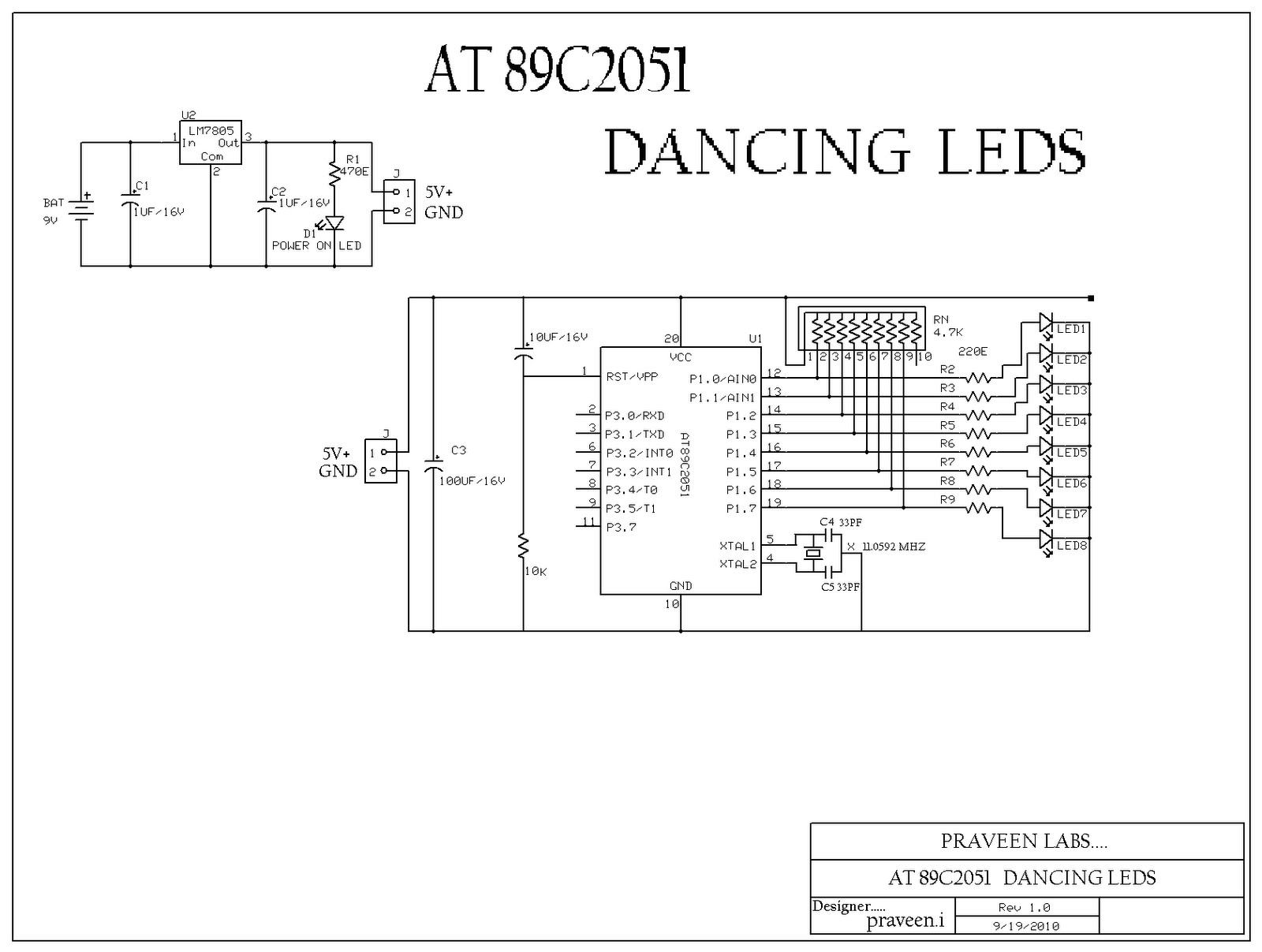 electrical and electronics  at89c2051 based dancing leds