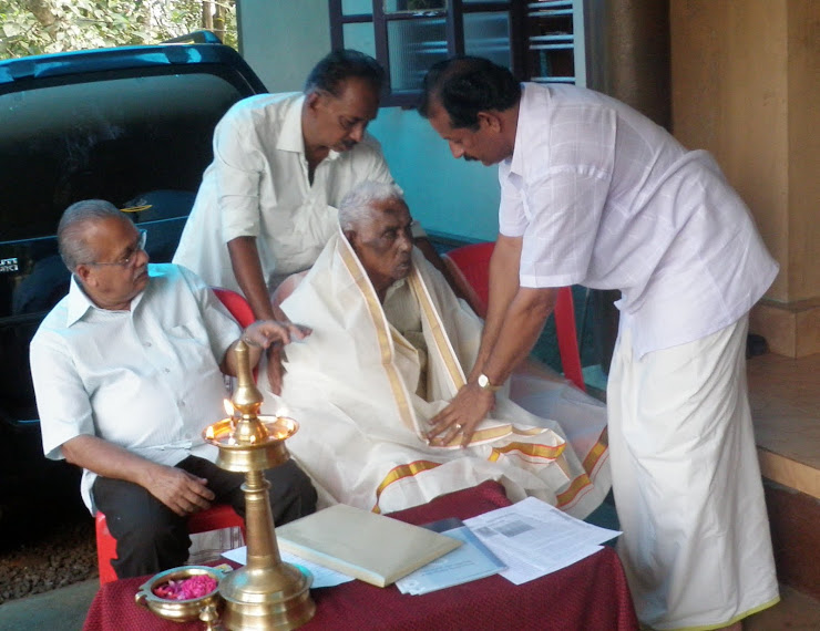 Centinarian Patron felicitated by Prof.Reghudev